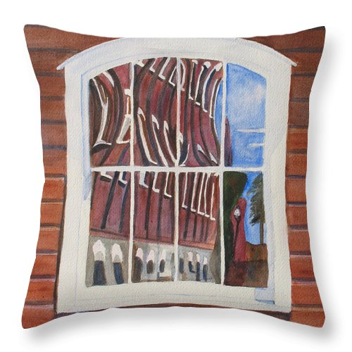 Window Throw Pillow featuring the painting The Mill House Reflects Upon Itself by Jenny Armitage