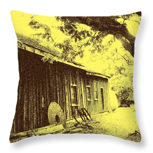 Black Creek Throw Pillow featuring the photograph The Millwrights Shed by Ian MacDonald