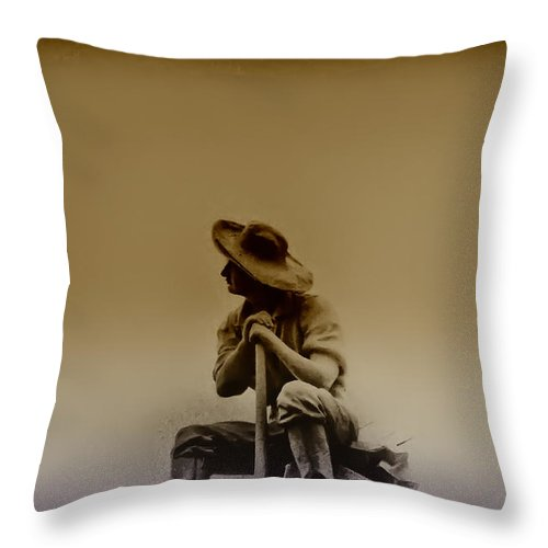 Philadelphia Throw Pillow featuring the photograph The Miner by Bill Cannon