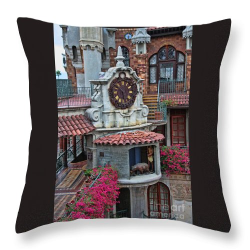 Mission Inn Throw Pillow featuring the photograph The Mission Inn Clock Tower by Tommy Anderson