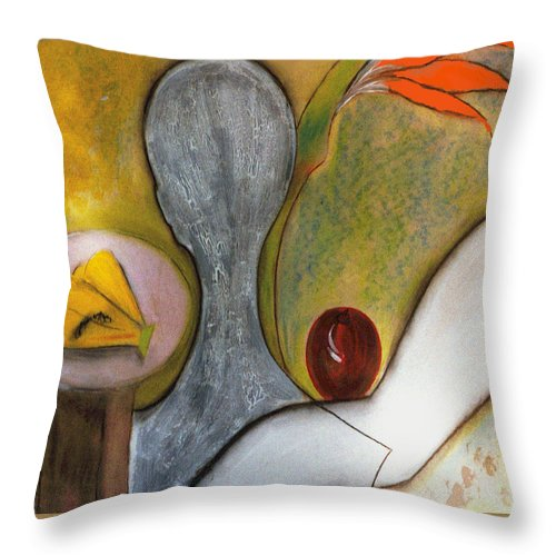 Model Throw Pillow featuring the painting The Model by Gloria Dietz-Kiebron