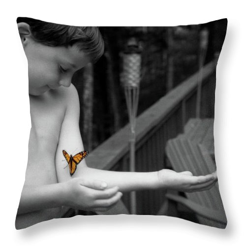 Boy Throw Pillow featuring the photograph The Monarch by Wayne King