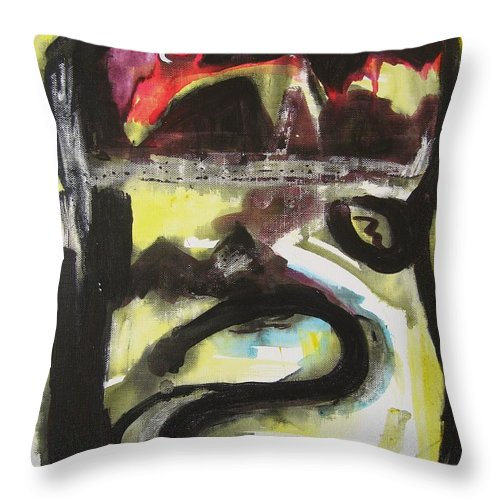Abstract Paintings Throw Pillow featuring the painting The Moon Compassionate by Seon-Jeong Kim