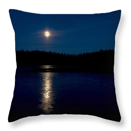 Lehtokukka Throw Pillow featuring the photograph The Moon Over Saari-soljanen 2 by Jouko Lehto