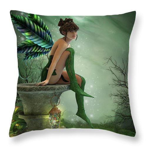Fairy Throw Pillow featuring the digital art The Moonlight Fairy by Jayne Wilson