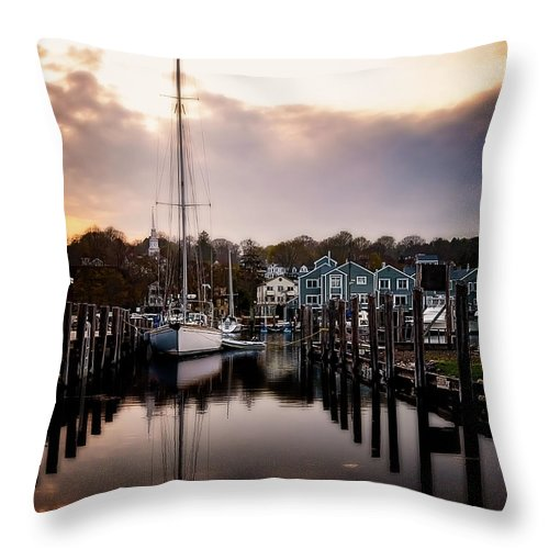 Ship Throw Pillow featuring the photograph The Mooring by Michael Riha