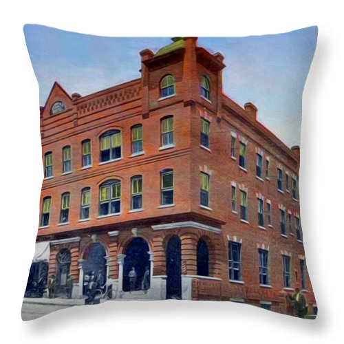 Morgan Hotel Throw Pillow featuring the photograph the Morgan Hotel by Lisa and Norman Hall