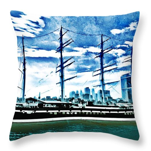 Moshulu Throw Pillow featuring the photograph The Moshulu by Bill Cannon