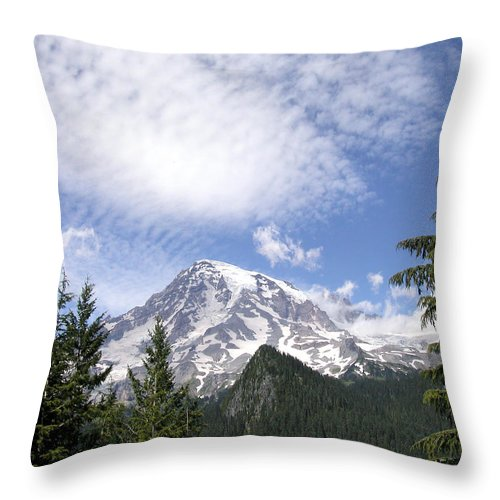 Mountain Throw Pillow featuring the photograph The Mountain Mt Rainier Washington by Michael Bessler