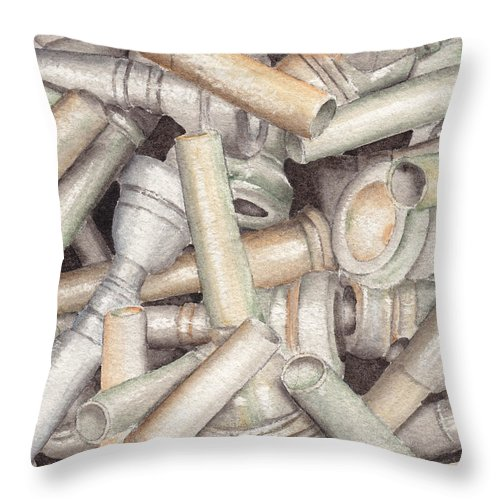 Brass Throw Pillow featuring the painting The Mouthpiece Jumble Experiment by Ken Powers