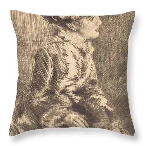 Throw Pillow featuring the drawing The Muff by James Mcneill Whistler