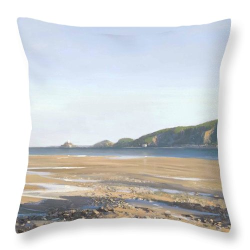 Landscape Throw Pillow featuring the painting The Mumbles  Swansea by Richard Picton