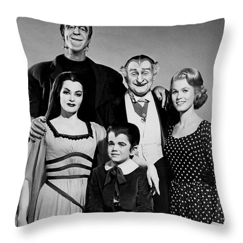 The Munster Family Portrait Throw Pillow featuring the photograph The Munster Family Portrait by Pd