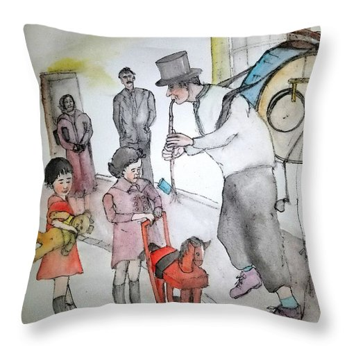 Throw Pillow featuring the painting The Music Man by Debbi Saccomanno Chan