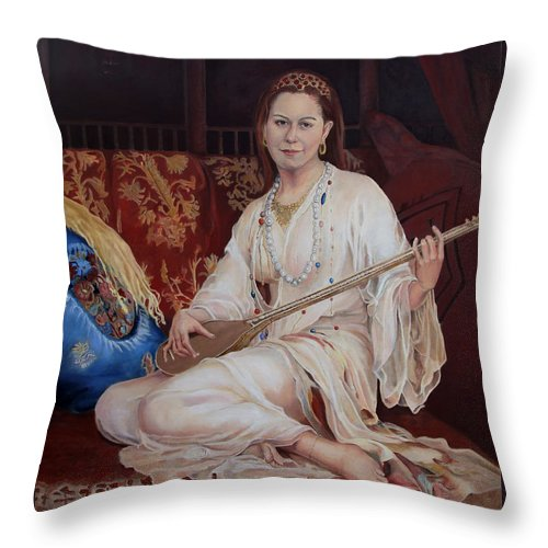Portrait Throw Pillow featuring the painting The Musician by Portraits By NC