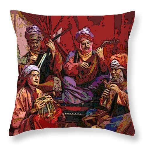 Square Throw Pillow featuring the digital art The Musicians Of Hajji Baba by Eikoni Images