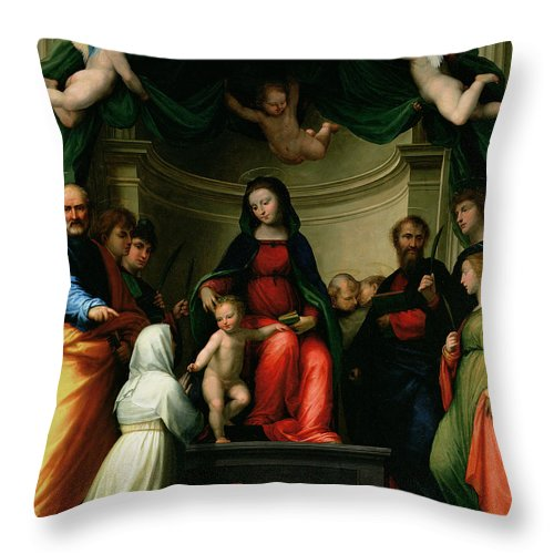 The Mystic Marriage Of St. Catherine Of Siena With Saints Throw Pillow featuring the painting The Mystic Marriage Of St Catherine Of Siena With Saints by Fra Bartolommeo - Baccio della Porta