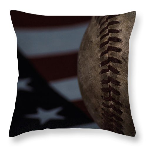 Baseball Throw Pillow featuring the photograph The National Pastime by Eugene Campbell
