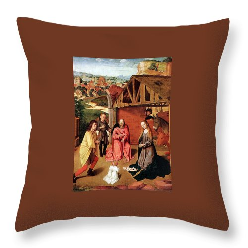 Nativity Throw Pillow featuring the painting The Nativity By Gerard David by Munir Alawi