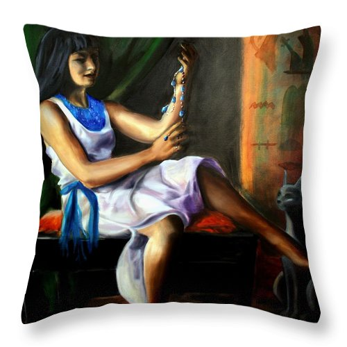 Portrait Throw Pillow featuring the painting The Necklace by Maryn Crawford