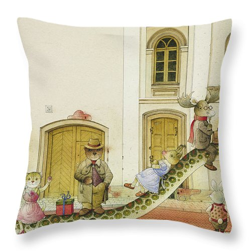 Snake Buss Stop Old Town Street Animals House Traffic Illustration Children Book Rabbit Fox Bear Cat Deer Dog Goat Owl Throw Pillow featuring the painting The Neighbor around the Corner07 by Kestutis Kasparavicius