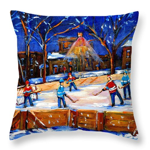 Montreal Throw Pillow featuring the painting The Neighborhood Hockey Rink by Carole Spandau