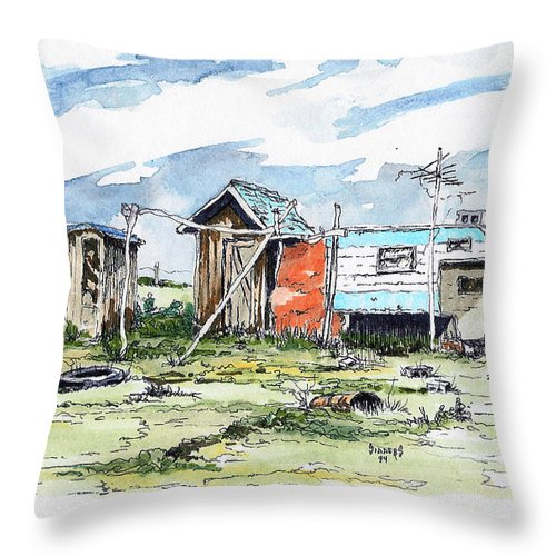 Economy Throw Pillow featuring the painting The New American Dream by Sam Sidders