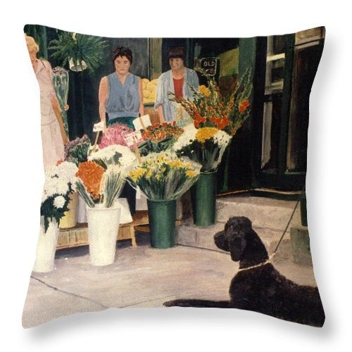 Mums Throw Pillow featuring the painting The New Deal by Steve Karol