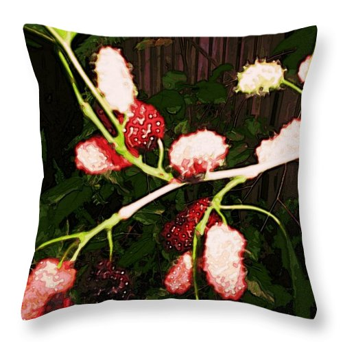 Garden Throw Pillow featuring the digital art The New Mulberries by Winsome Gunning