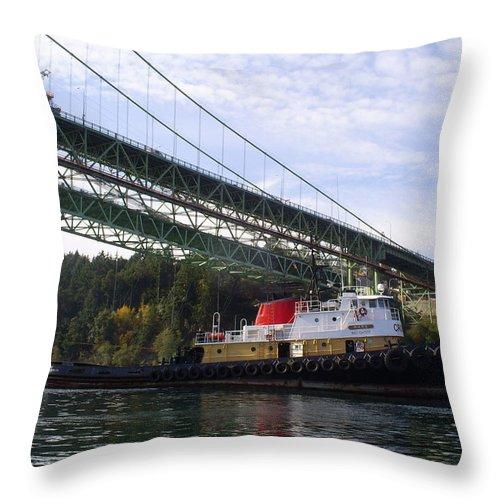 Tacoma Throw Pillow featuring the photograph The New Tacoma Narrows Bridge - Crowley Tug by Alan Espasandin