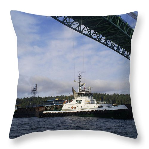 Tacoma Throw Pillow featuring the photograph The New Tacoma Narrows Bridge - Foss Tug by Alan Espasandin