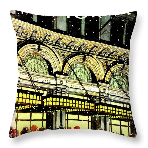 Urban Throw Pillow featuring the painting The New Yorker Cover - January 18th, 1988 by Roxie Munro