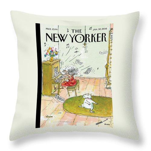 Woman Throw Pillow featuring the painting Winter Blues by George Booth