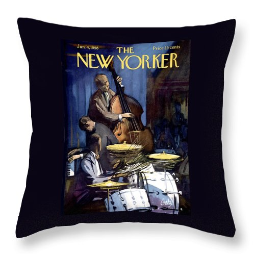 Concert Throw Pillow featuring the photograph The New Yorker Cover - January 4th, 1958 by Arthur Getz