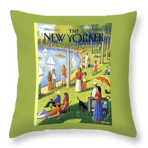 La Grande Jatte Throw Pillow featuring the painting The New Yorker July 15th, 1991 by Bob Knox