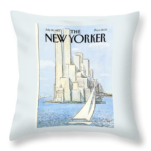 Regional Throw Pillow featuring the painting New Yorker July 19th, 1982 by Arthur Getz