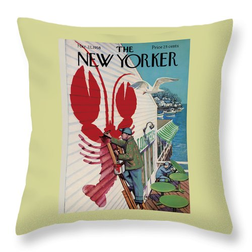 Food Throw Pillow featuring the painting New Yorker March 22, 1958 by Arthur Getz