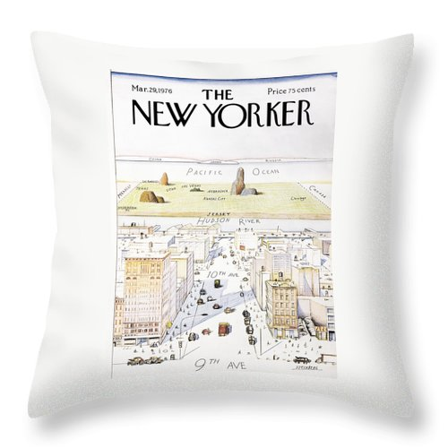 #condenastnewyorkercover Throw Pillow featuring the painting New Yorker March 29, 1976 by Saul Steinberg