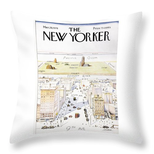 Saul Throw Pillow featuring the painting View From 9th Avenue by Saul Steinberg