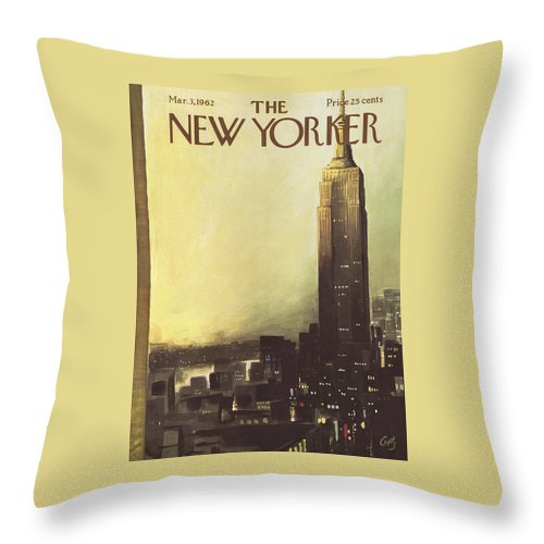Arthur Throw Pillow featuring the painting The New Yorker Cover - March 3rd, 1962 by Arthur Getz