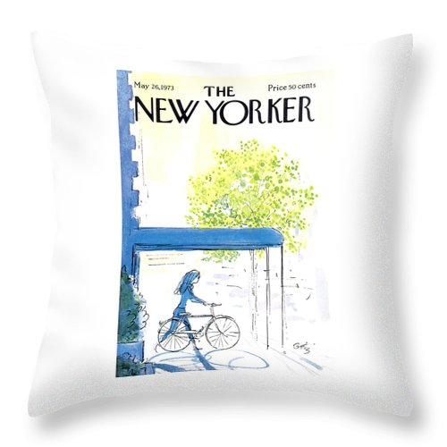 Bicycle Throw Pillow featuring the painting The New Yorker Cover - May 26th, 1973 by Arthur Getz