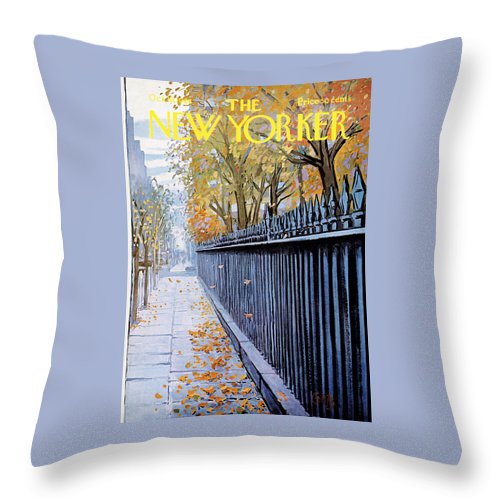 Season Throw Pillow featuring the painting Autumn In New York by Arthur Getz