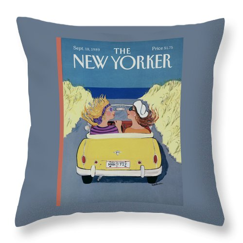 Autos Throw Pillow featuring the photograph The New Yorker Cover - September 18th, 1989 by Barbara Westman