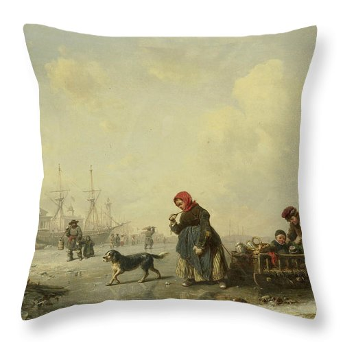 German Art Throw Pillow featuring the painting The Newa At Saint Petersburg In Winter by Theodor Hildebrandt