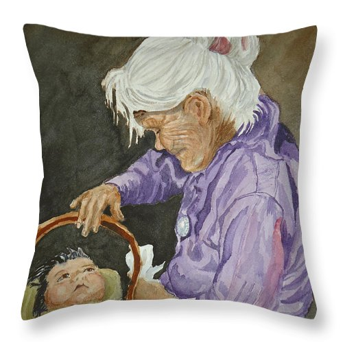 Navajo Throw Pillow featuring the painting The Next Generation by Charme Curtin