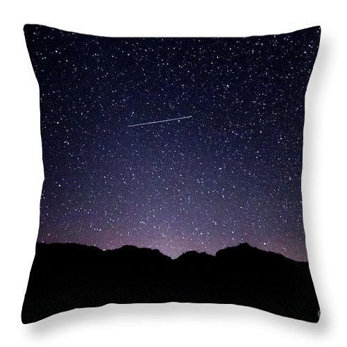 395 Throw Pillow featuring the photograph The Night Landscape View And The Stars At Tuttle Creek, Lone Pin by Eiko Tsuchiya
