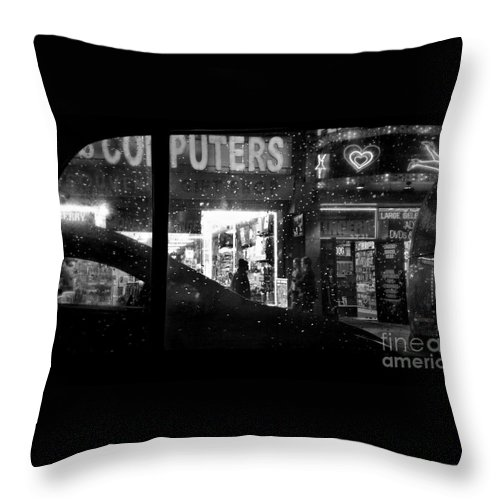 Street Photography Throw Pillow featuring the photograph The Night Side Of Town - New York by Miriam Danar