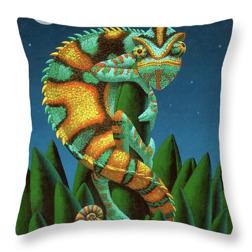 Chameleon Throw Pillow featuring the painting The Night Watch by Chris Miles
