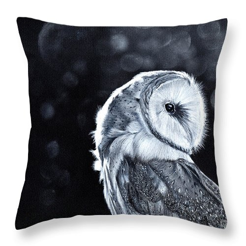 Owl Throw Pillow featuring the mixed media The Night Watcher by Bonnita Moaby