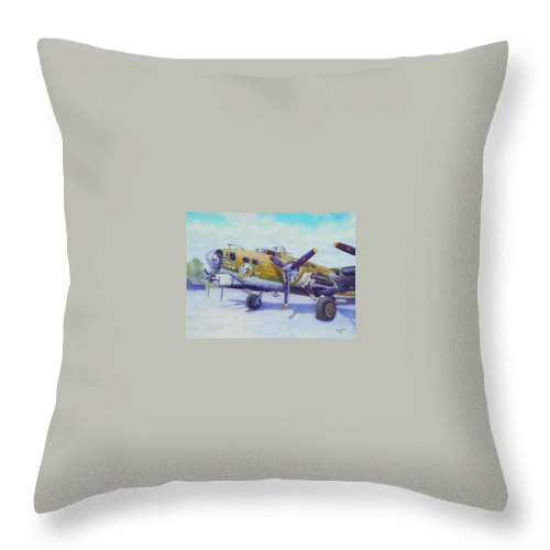 B-17 Throw Pillow featuring the painting The Nine O Nine by Scott Robertson